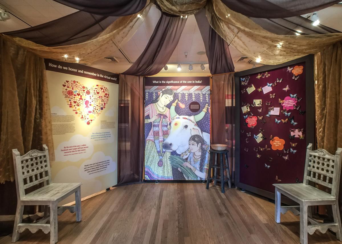 Spirits Return inside exhibit canopy